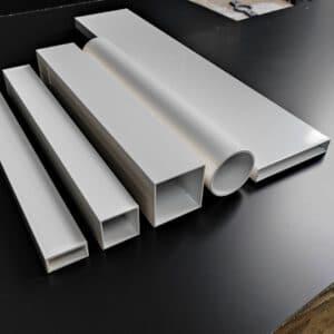 Witte aluminium profielen, witte opvulprofielen, witte aluminium kokers