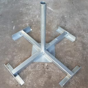 Kruisvoet voor vlaggenmasten dia. 60mm, vlaggenmast , betonvoet, gewichtsvoet, spandoekframe, immoborden